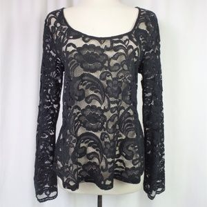 Express Lace Top Long Flare Sleeves Black Size L